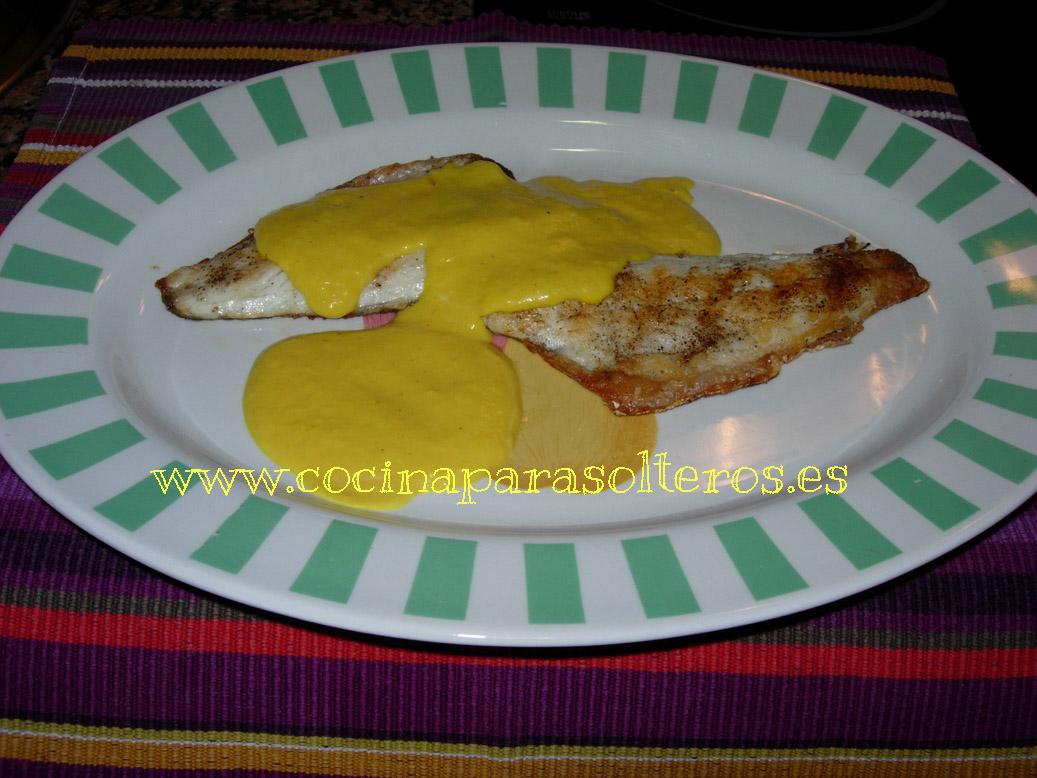Lubina con salsa de mango cocina para solteros for Como cocinar setas parasoles