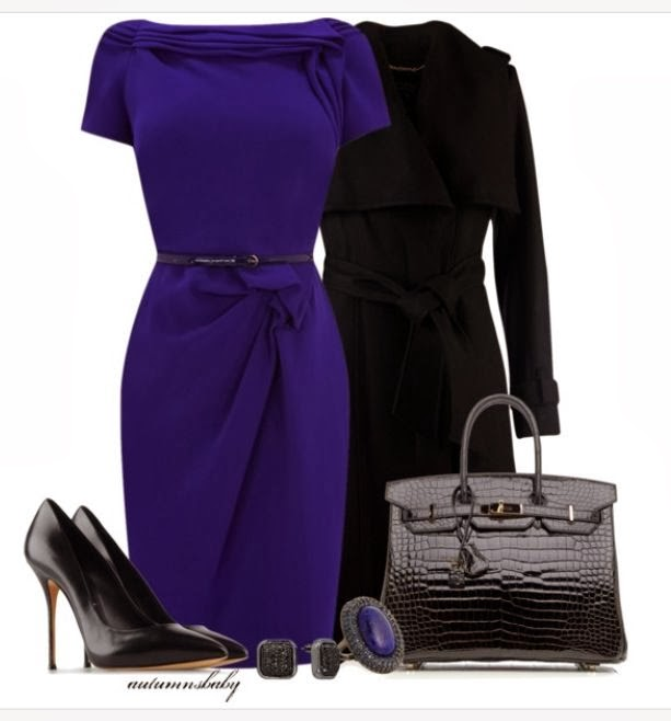 Dark blue dress, black long coat, handbag and high heel sandals