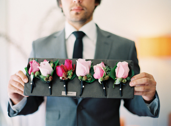 Wedding Flowers Boutonniere Pink Boutonnieres That Are All A Little Different Love Boutonnieres