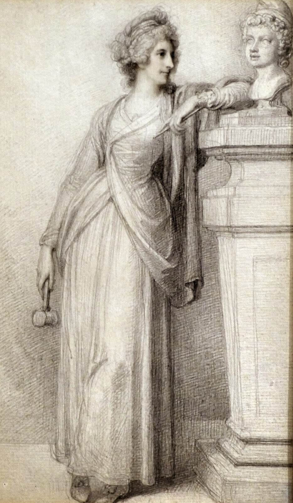 Mrs Damer in the act of having just finished her head of the Young Paris  by Richard Cosway (1790)