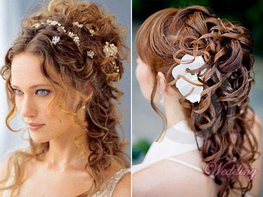 Прическа на свадьбу на кудрявые волосы