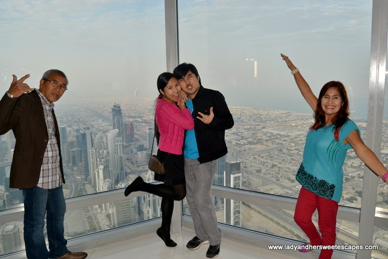 family at Burj Khalifa observation terrace