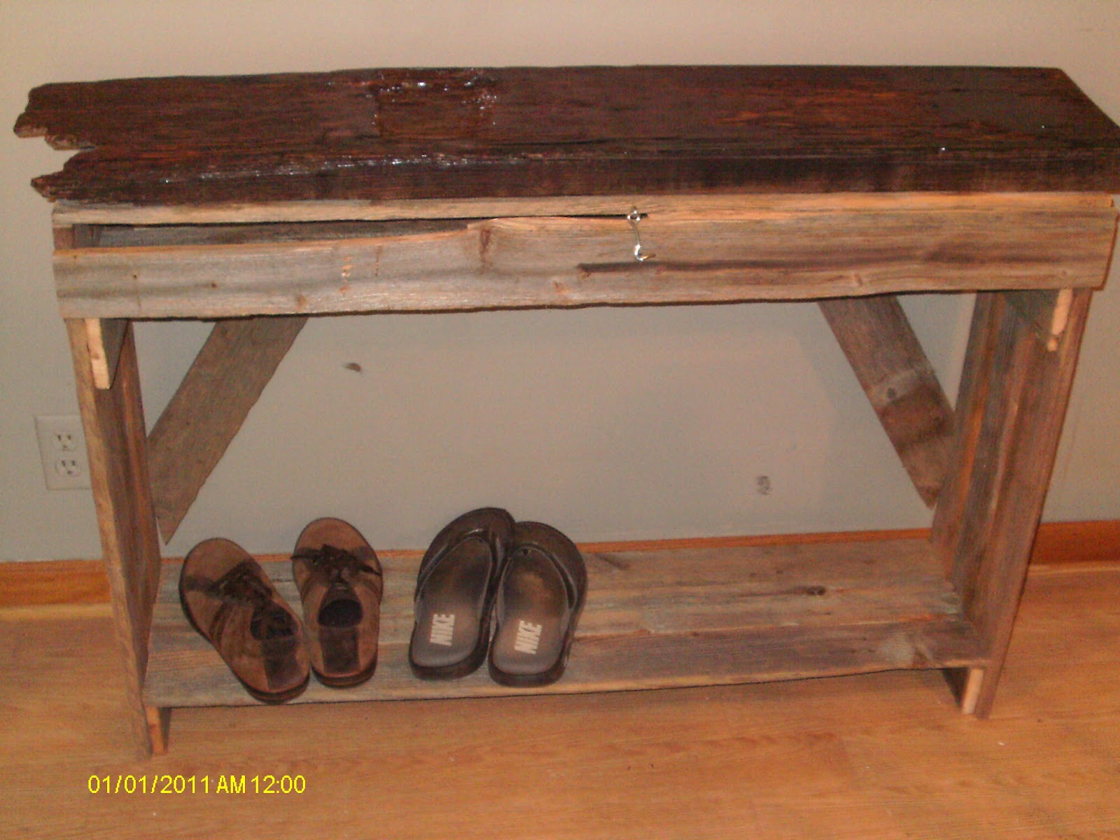 Handmade Rustic Log Furniture Finished Entry Way Cabinit And Entryway Table