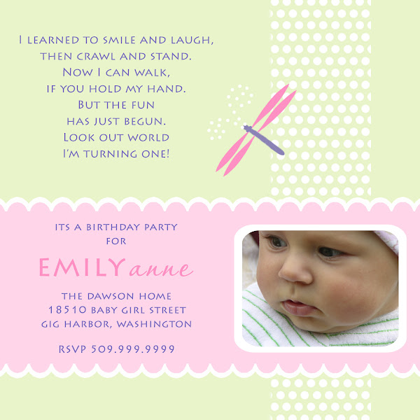 Dragonfly First Birthday Inviation