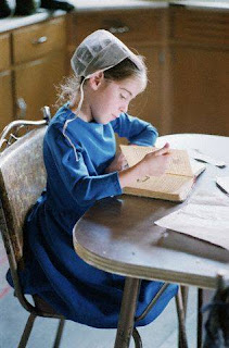 Amish girl reading