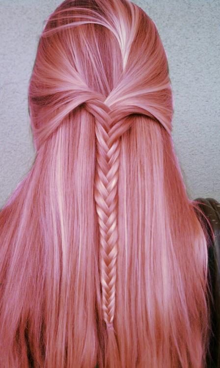 trenzas cadena en pelo rosa 2013