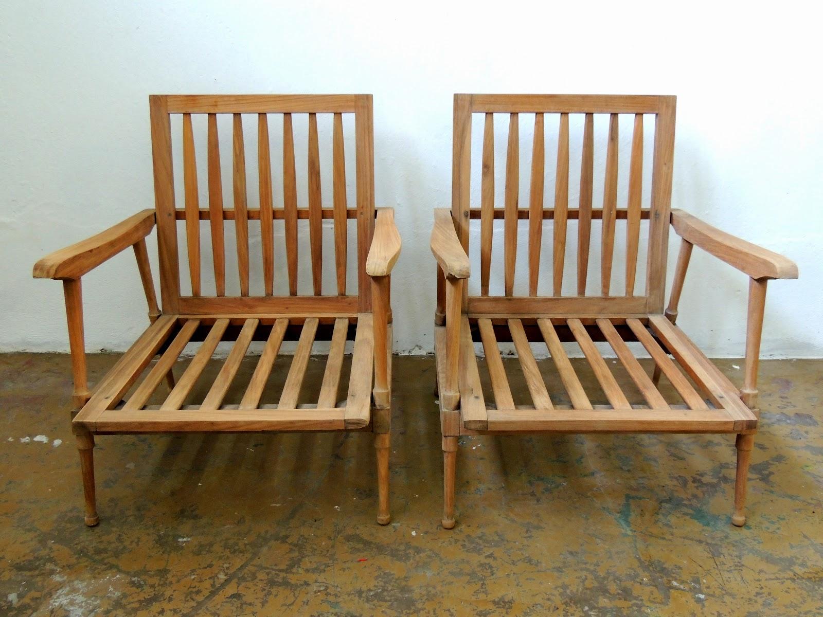 Juego de sillones escandinavos vintage en madera lavada for Medidas de sillones