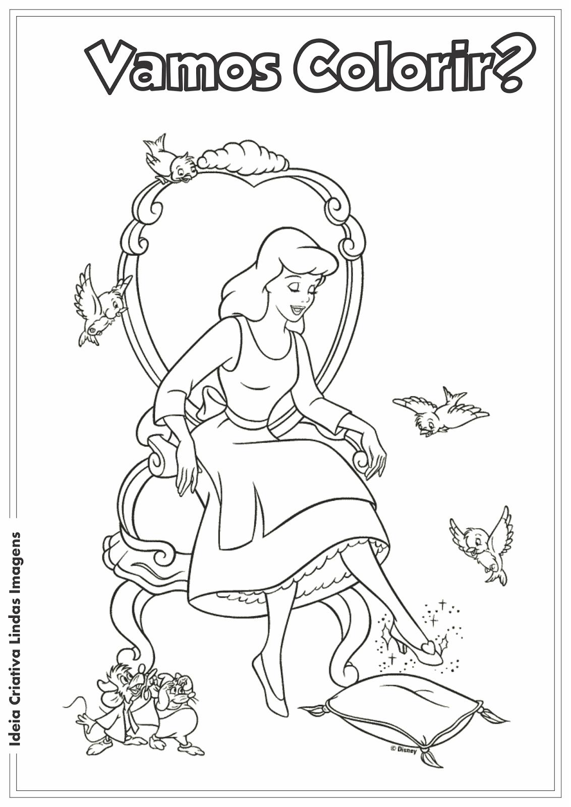 Desenho para colorir - Cinderela
