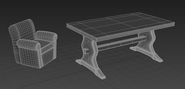 Mesa, Sofá en Wireframe de 3ds Max