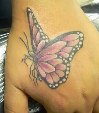 Nice Butterfly Tattoo Design On Hand