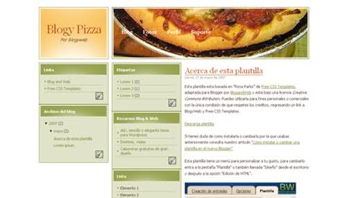 Blogger Pizza Food Restaurant Web2.0 Template