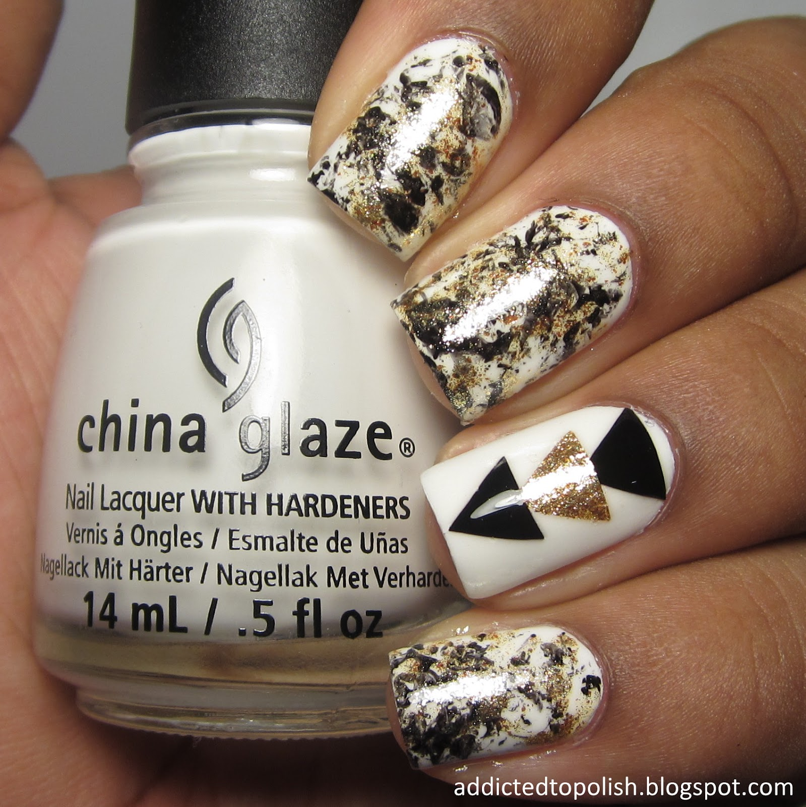 black gold white triangle decals saran wrap nail art