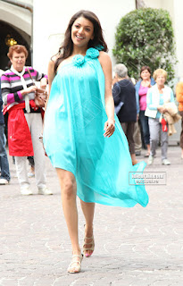 Kajal Aggarwal in a Sky Blu wrap Spicy Pictures Shooting at a foreign Location Beautiful Spicy Kajal Aggarwal