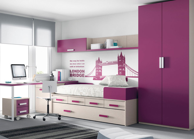 Dormitorio juvenil con cama con 2 cajones grandes y 4 - Imagenes dormitorios juveniles ...