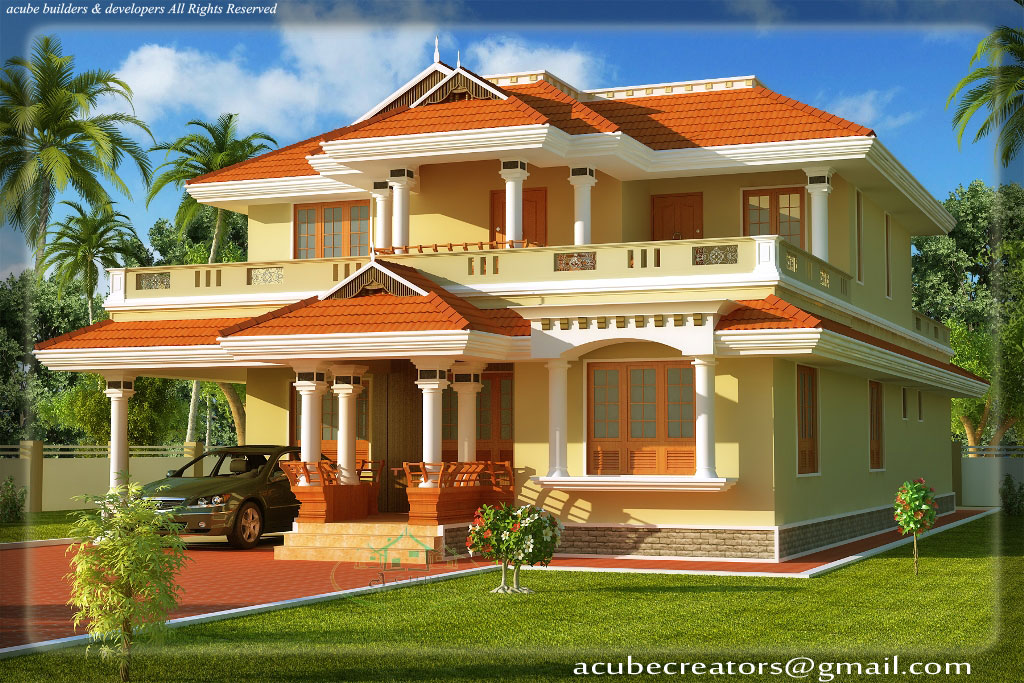 South Indian Style House Home 3D Exterior Design Jpg