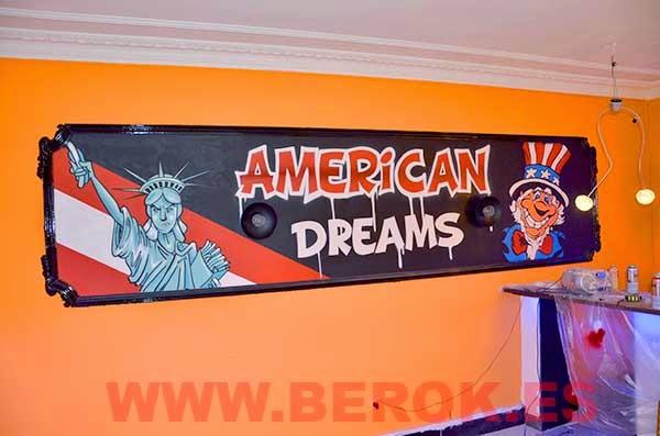 Cuadro de graffiti humorístico típico americano