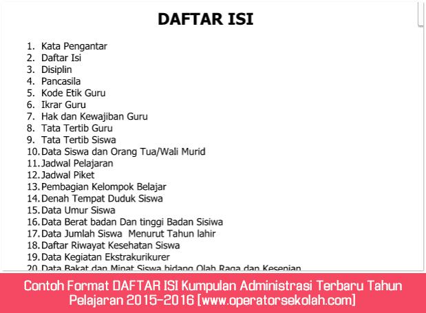 Contoh Format DAFTAR ISI Kumpulan Administrasi Terbaru Tahun Pelajaran 2015-2016 [www.operatorsekolah.com]