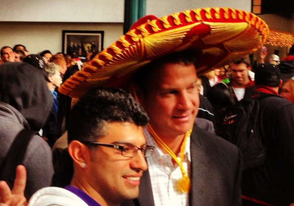 Lane Kiffin wearing a sombrero? Lane Kiffin wearing a sombrero.