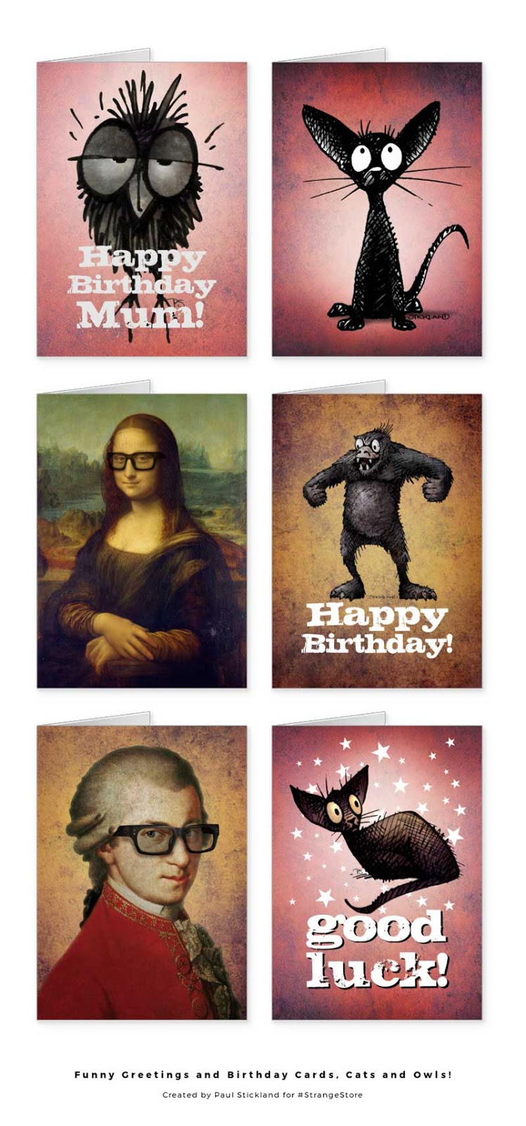 funny owl cards, funny cat cards, funny crow cards, happy birthday cards, good luck cards,