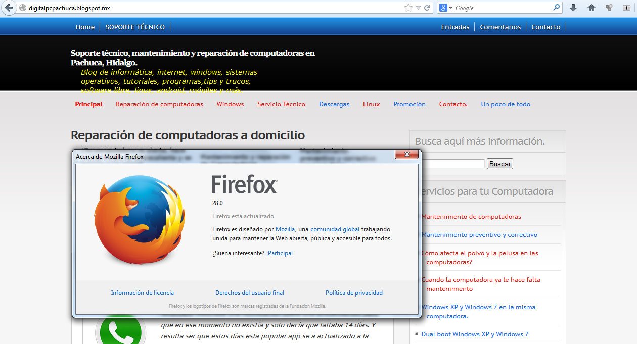 Firefox para Windows, Mac OS X y Linux