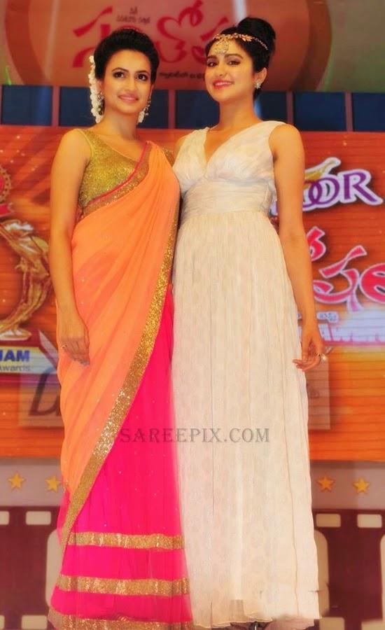 Kriti-kharbanda-pink-saree-Santhosham-awards-2014