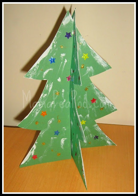 standing paper christmas trees decorated