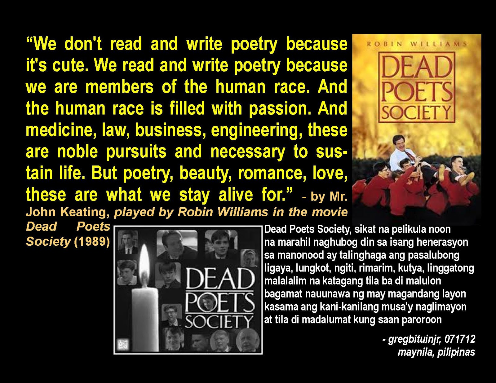 an analysis of the dead poets society My analysis of dead poet's society posted on february 28, 2013 by reflective thinking  politics and tagged dead poets society, movies, paulo freire,.