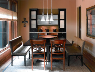 Contemporay Dining Room with Simple Dining Sets With Benches on Grey Carpet and the Hardwood Floor