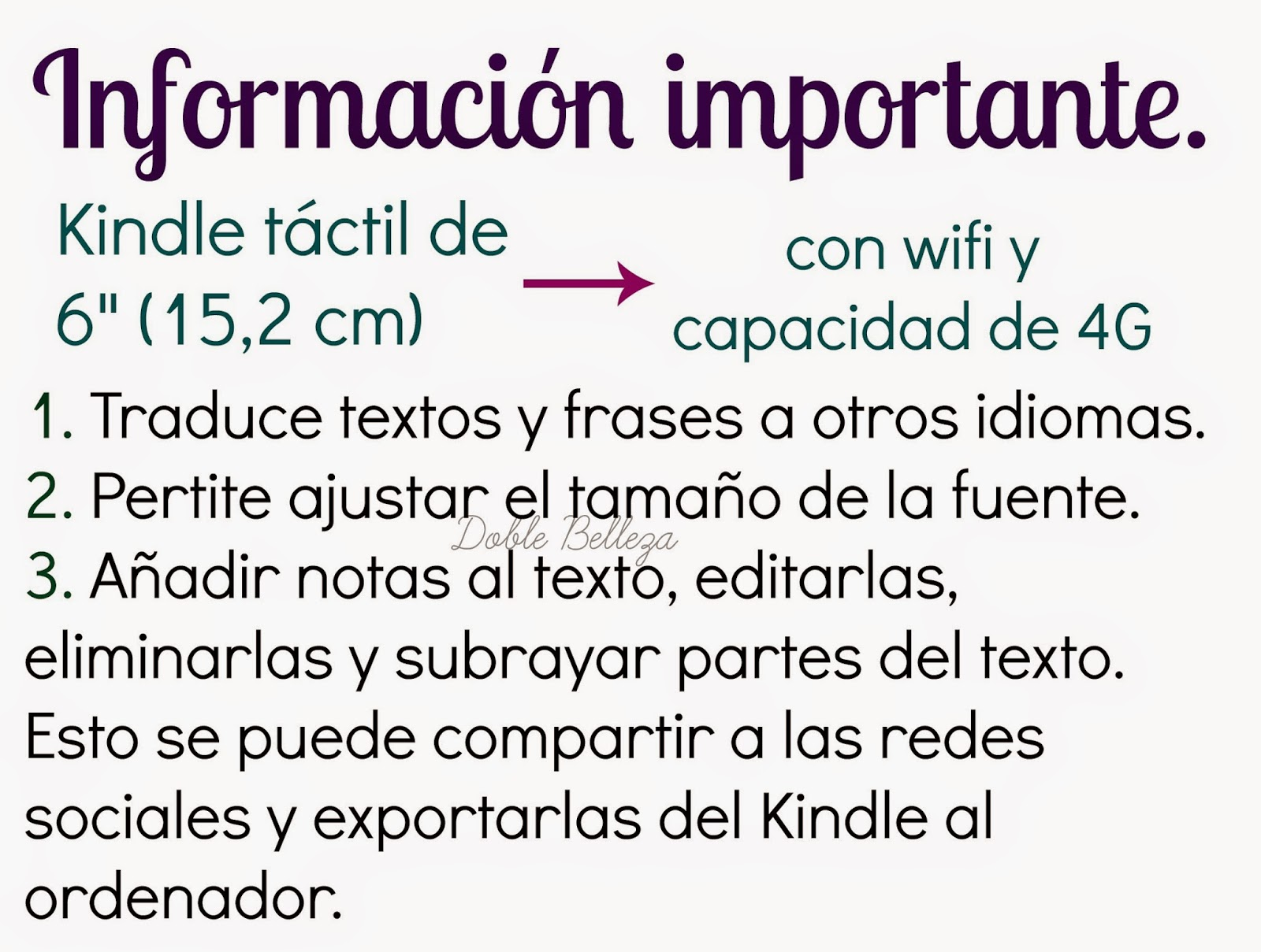 Informacion importante kindle