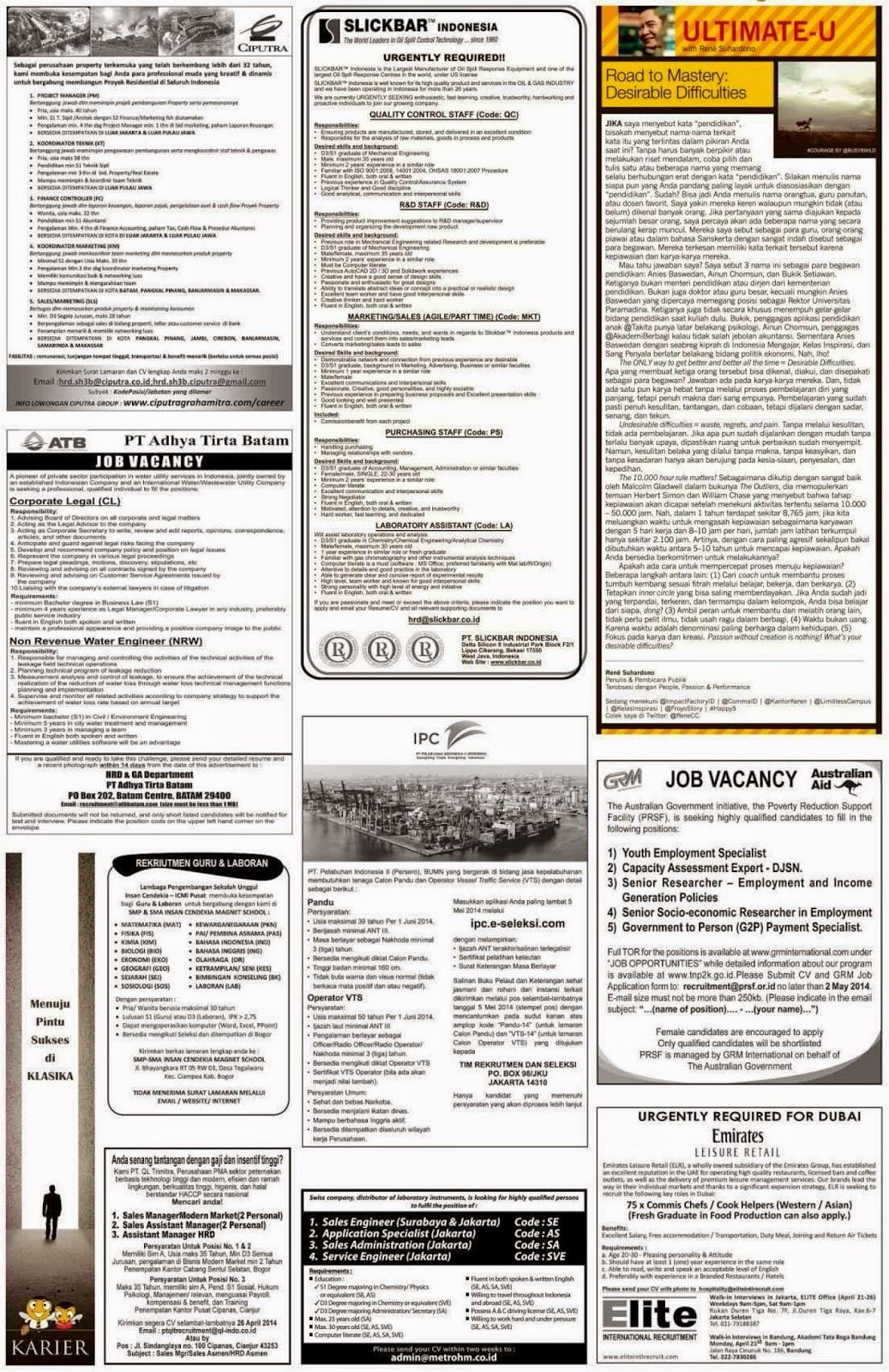 Lowongan koran  April 2014