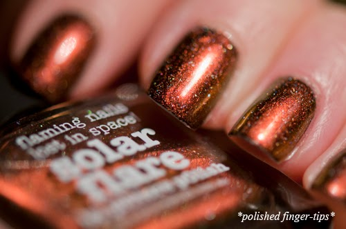 Solar Flare - this russet brown shade is the dominant colour on nail