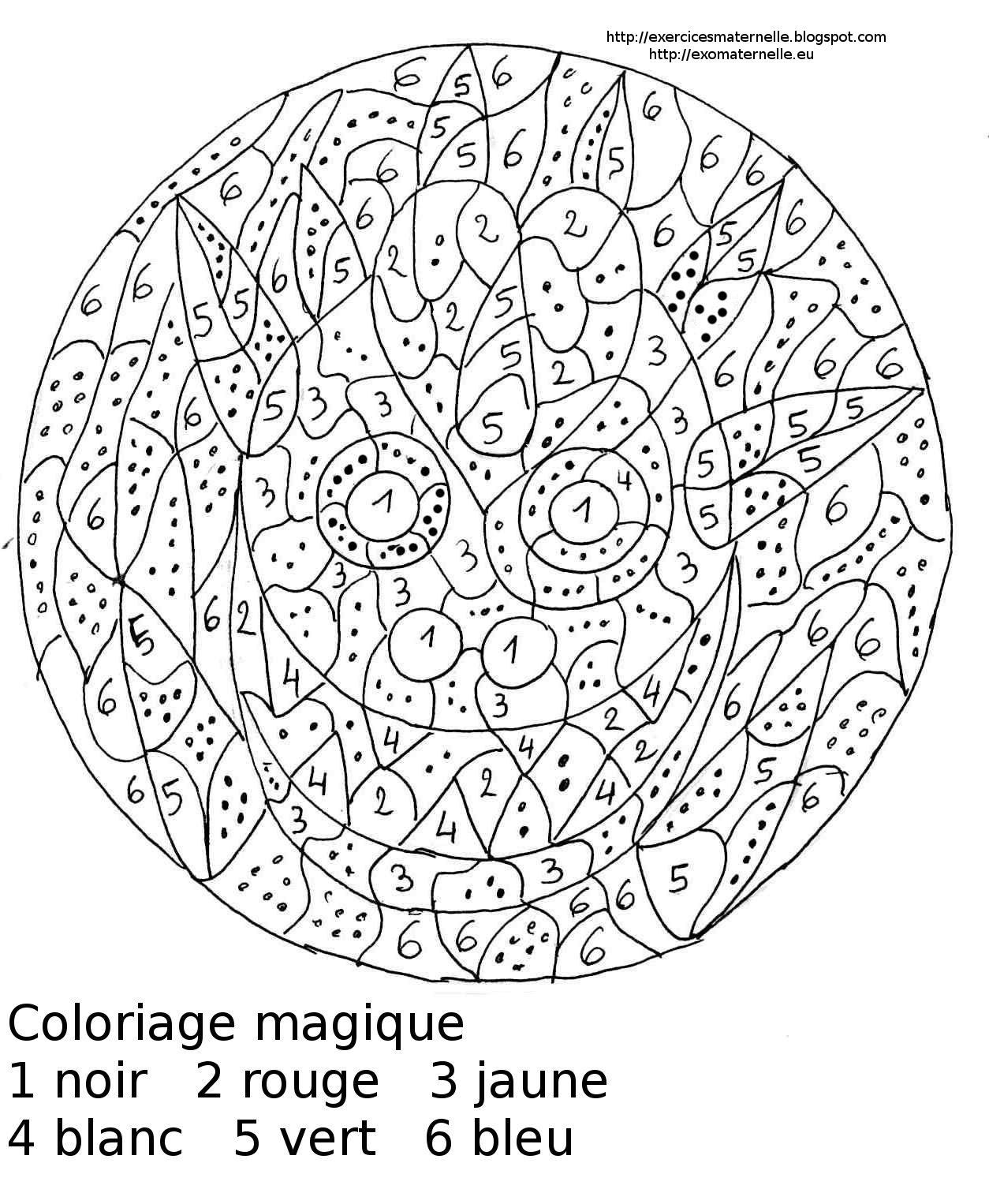 Maternelle coloriage magique maternelle un masque - Coloriage magique loup ...