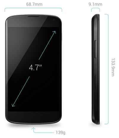 Las medidas del smartphone Nexus 4