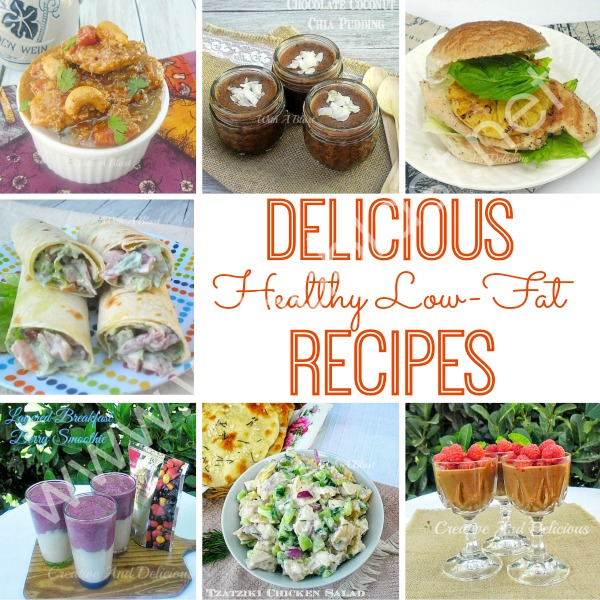 Healthy Low-Fat Recipes ~ This round-up consists of all my personal, favorite healthy/low-fat recipes and you will find delicious recipes for Breakfast, Dinner, Lunch, Drinks, Snacks and Dessert ! Eating healthy does not have to be boring !