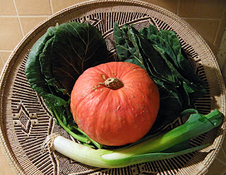 Basket with Red Kabocha Squash, Collard Greens, and Leek