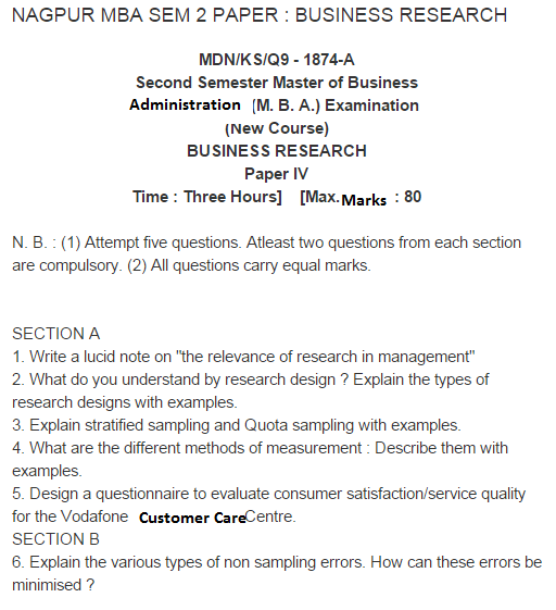mba research methodology question paper