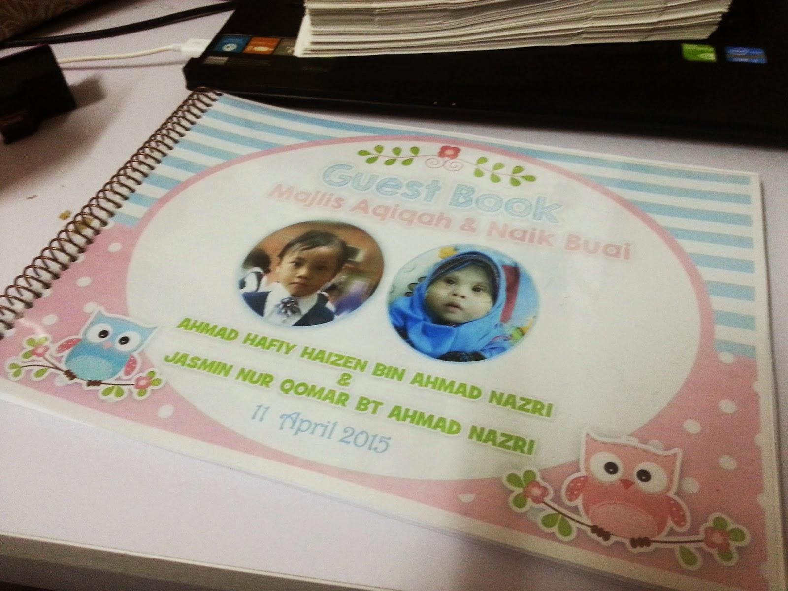 Guest book majlis aqiqah for Idea doorgift untuk aqiqah