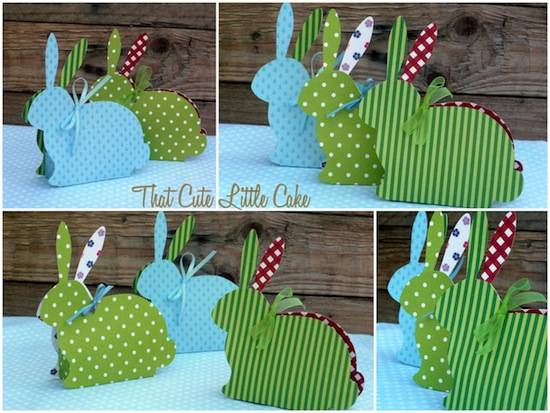 That cute little cake easter craft bunny treat boxes diy bunny box template assorted scrapbook paper glue ribbon candy packets of mini easter mms were the perfect fit negle Images