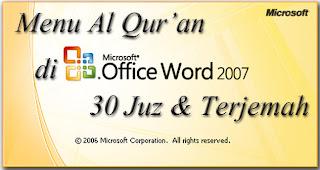 Qur'an in word, Al-Qur'an untuk microsoft word