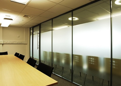 sand blasted glass partition for conference room