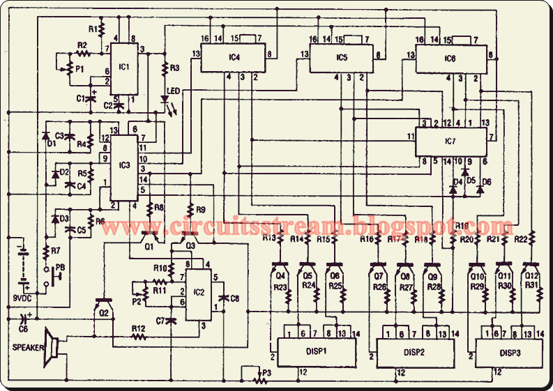 Digital Electronic Slot Machine Circuit Diagram