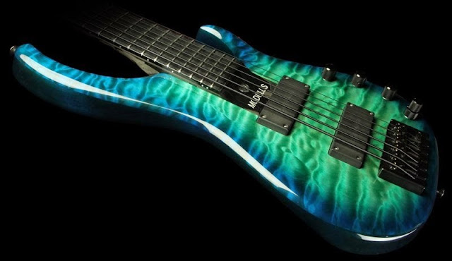 Bass: Modulus Q6 Quantum 6-String Bass in Blue Green