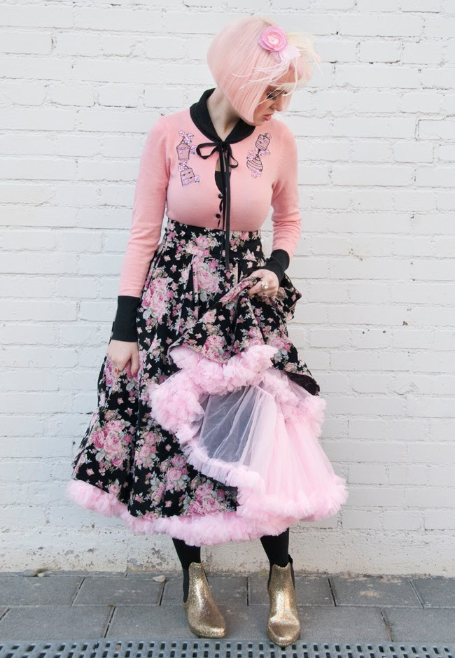 Pink petticoat, collect if clothing, pastel pink outfit, velvet skirt with roses