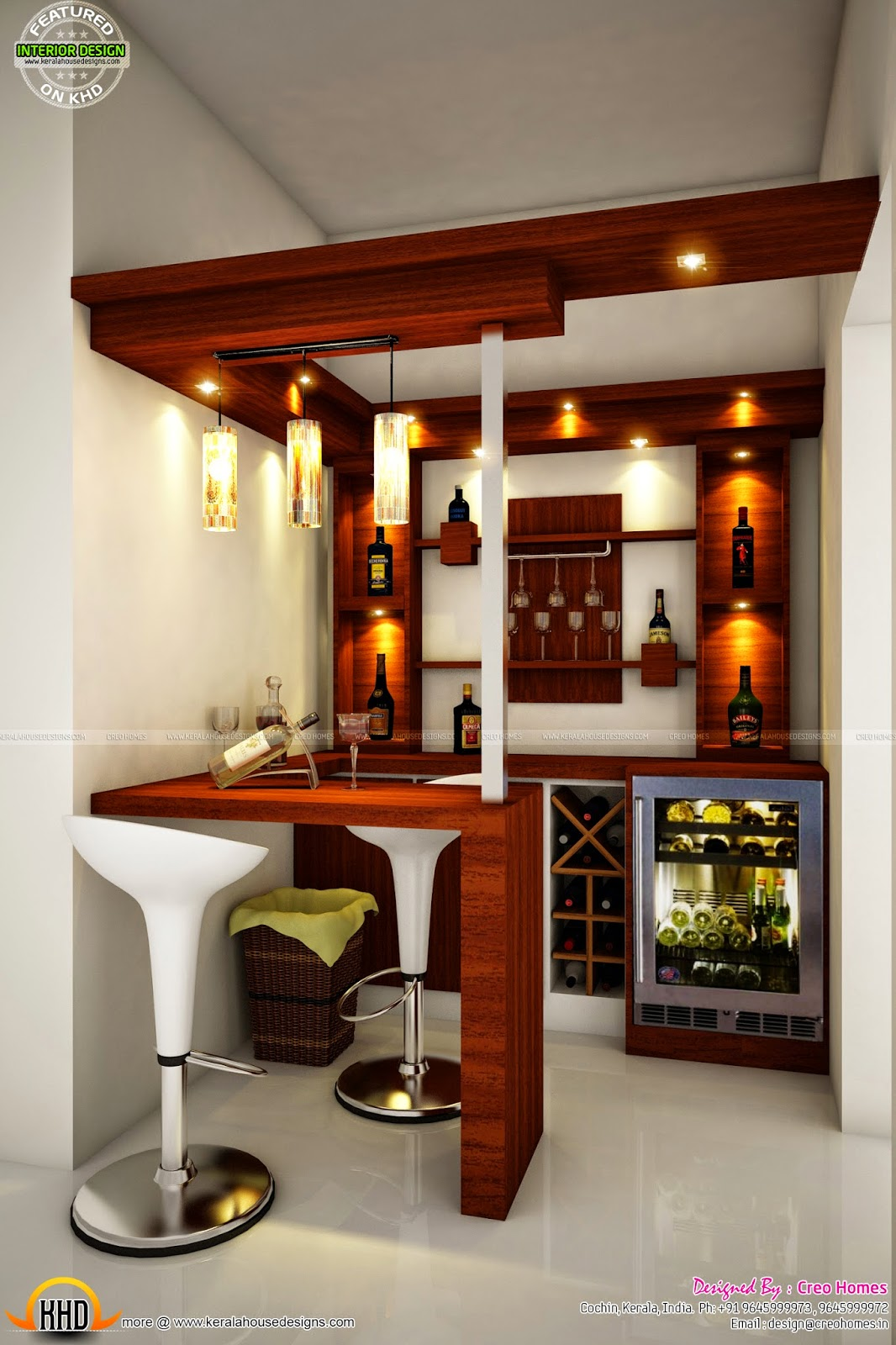 Modern villa in 1960 sq ft keralahousedesigns - Contemporary bar counter design ...