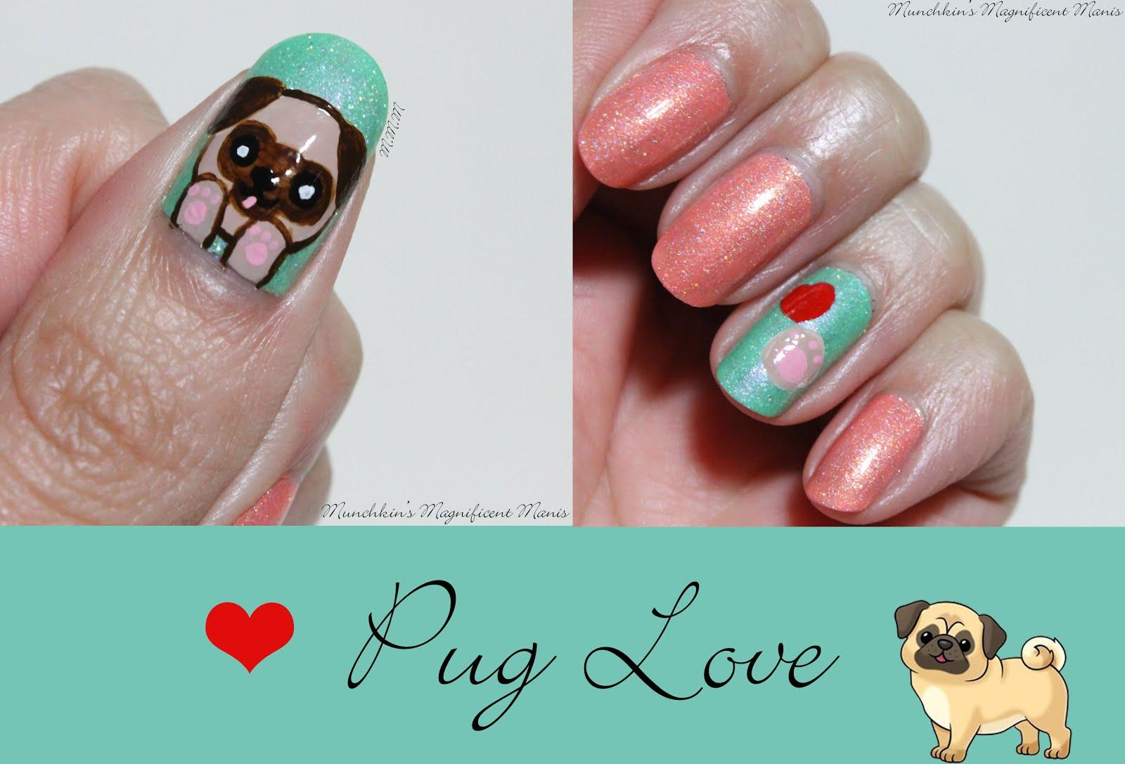 Munchkin\'s Magnificent Manis: Pug Love Nail Design