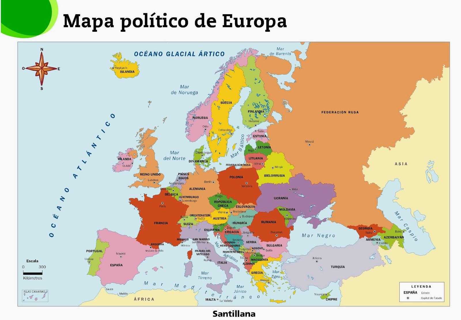 Me gustan las Sociales: EUROPA. Mapa político