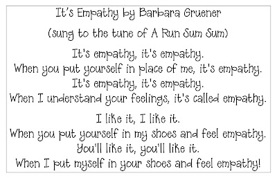 photo of lyrics to empathy song by Barbara at the Corner on Character