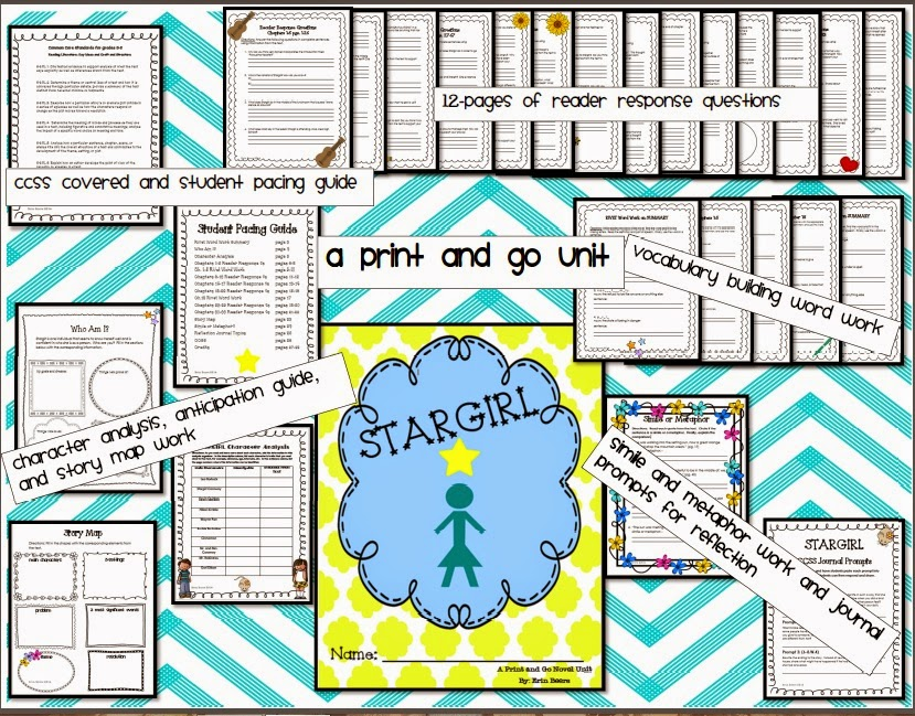 http://www.teacherspayteachers.com/Product/Stargirl-A-Print-and-Go-Novel-Unit-for-Middle-School-1081899