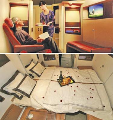 PENUMPANG diberi layanan istimewa daripada pramugari (gambar atas) dan kabin persendirian dengan katil untuk dua orang.