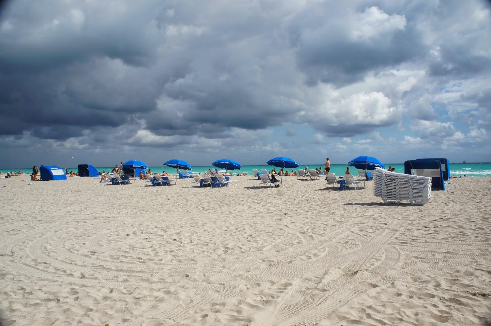 blue umbrellas in the beach